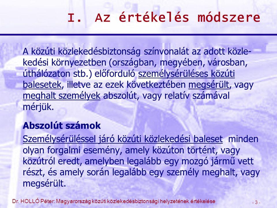 - 14 - Dr.HOLLÓ Péter: Magyarország közúti közlekedésbiztonsági helyzetének értékelése II.