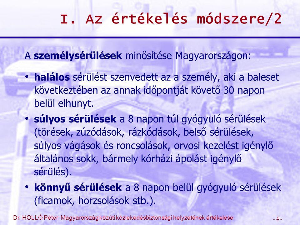 - 4 - Dr. HOLLÓ Péter: Magyarország közúti közlekedésbiztonsági helyzetének értékelése I. Az értékelés módszere/2 A személysérülések minősítése Magyar