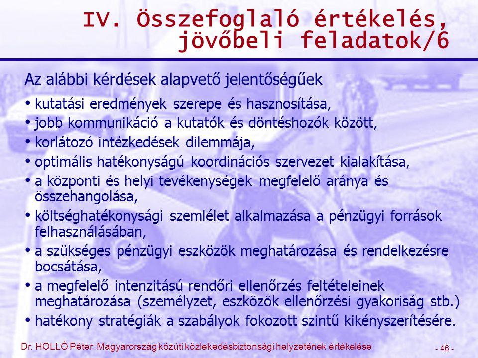 - 46 - Dr. HOLLÓ Péter: Magyarország közúti közlekedésbiztonsági helyzetének értékelése IV. Összefoglaló értékelés, jövőbeli feladatok/6 Az alábbi kér