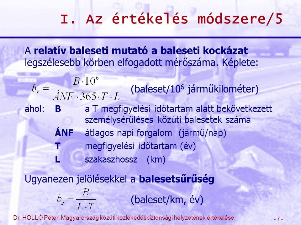 - 7 - Dr. HOLLÓ Péter: Magyarország közúti közlekedésbiztonsági helyzetének értékelése I. Az értékelés módszere/5 A relatív baleseti mutató a baleseti