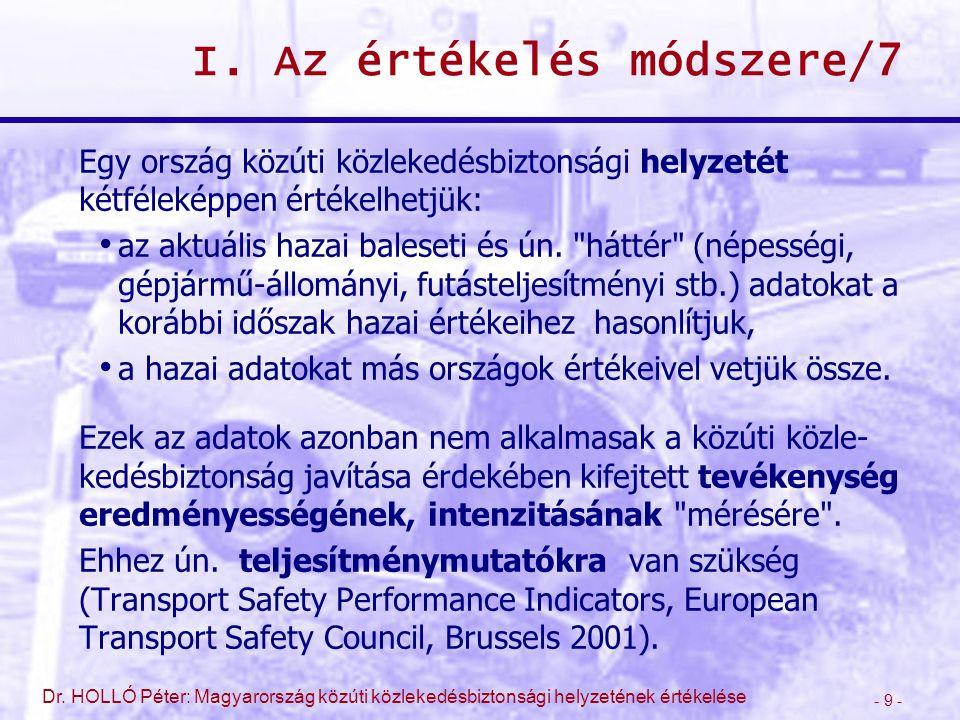 - 9 - Dr. HOLLÓ Péter: Magyarország közúti közlekedésbiztonsági helyzetének értékelése I. Az értékelés módszere/7 Egy ország közúti közlekedésbiztonsá