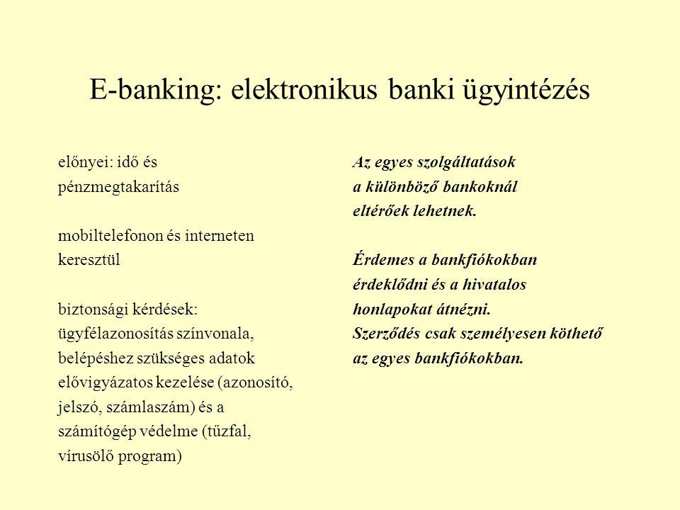 E-banking: elektronikus banki ügyintézés előnyei: idő és pénzmegtakarítás mobiltelefonon és interneten keresztül biztonsági kérdések: ügyfélazonosítás