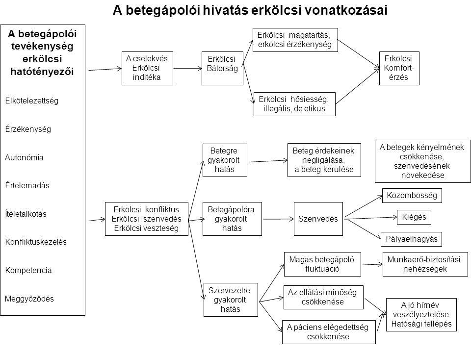 A betegápolói tevékenység erkölcsi hatótényezői Elkötelezettség Érzékenység Autonómia Értelemadás Ítéletalkotás Konfliktuskezelés Kompetencia Meggyőző