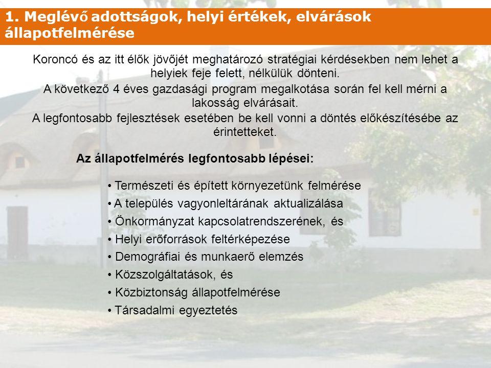 1. Meglév ő adottságok, helyi értékek, elvárások állapotfelmérése Koroncó és az itt élők jövőjét meghatározó stratégiai kérdésekben nem lehet a helyie