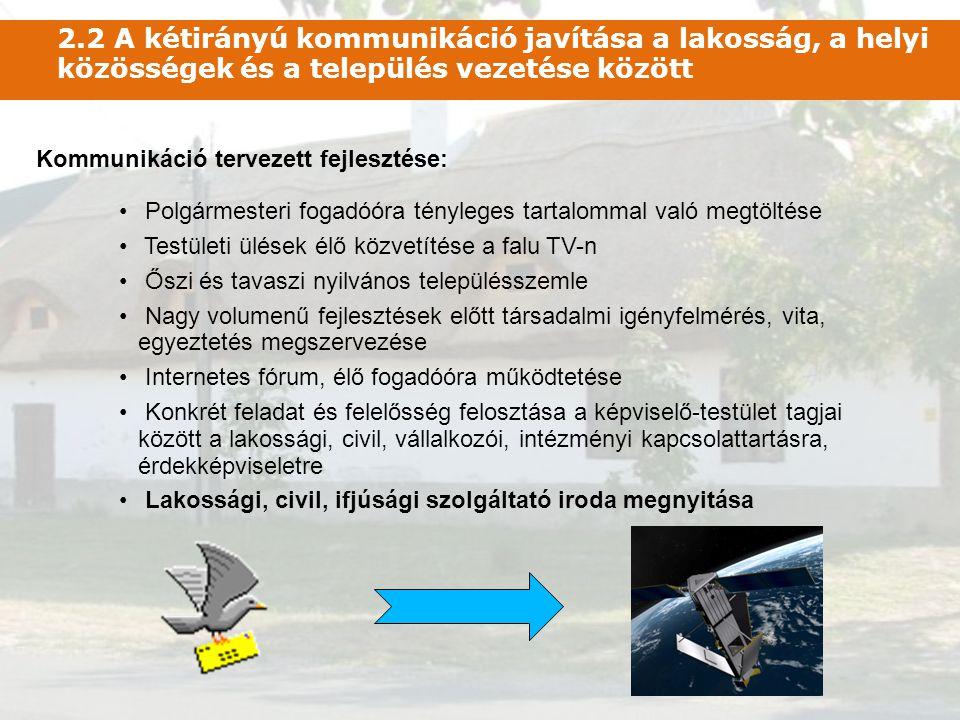 • Polgármesteri fogadóóra tényleges tartalommal való megtöltése • Testületi ülések élő közvetítése a falu TV-n • Őszi és tavaszi nyilvános településsz