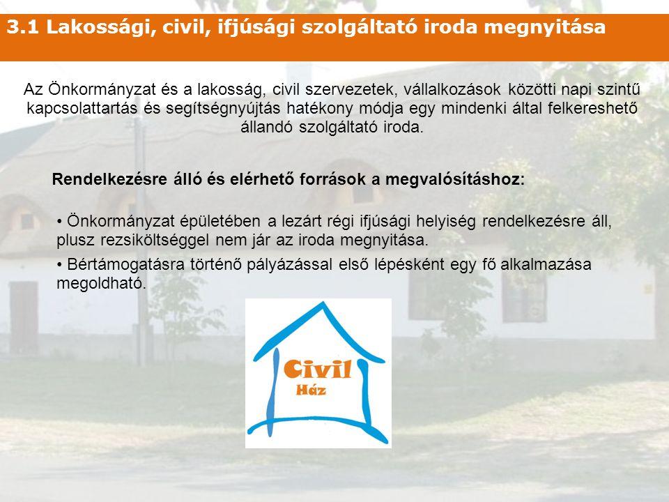 3.1 Lakossági, civil, ifjúsági szolgáltató iroda megnyitása Az Önkormányzat és a lakosság, civil szervezetek, vállalkozások közötti napi szintű kapcso