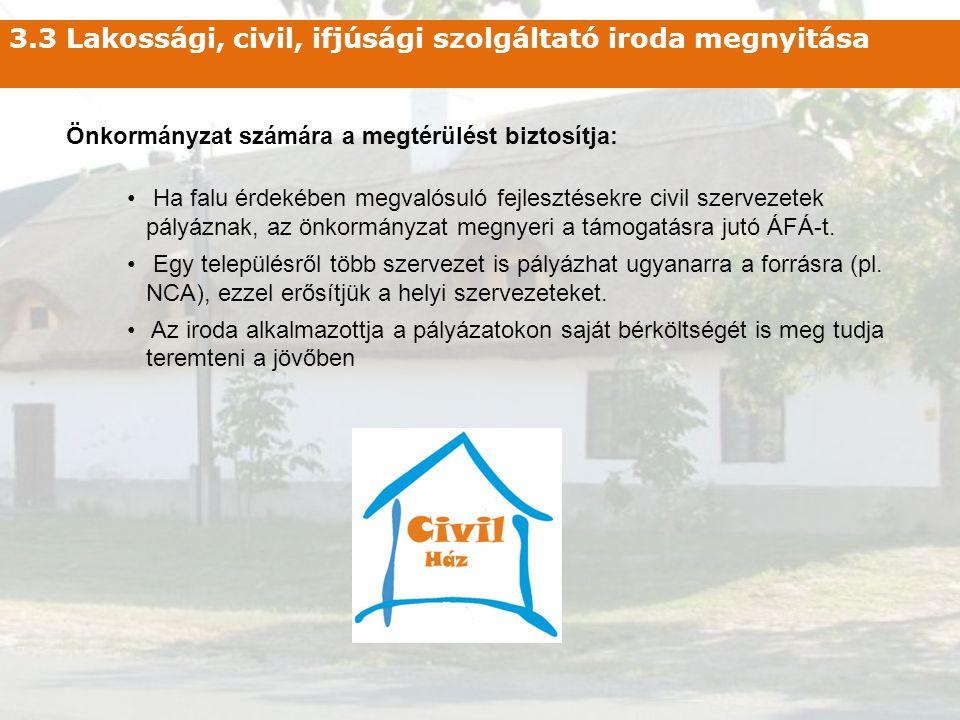 3.3 Lakossági, civil, ifjúsági szolgáltató iroda megnyitása Önkormányzat számára a megtérülést biztosítja: • Ha falu érdekében megvalósuló fejlesztése