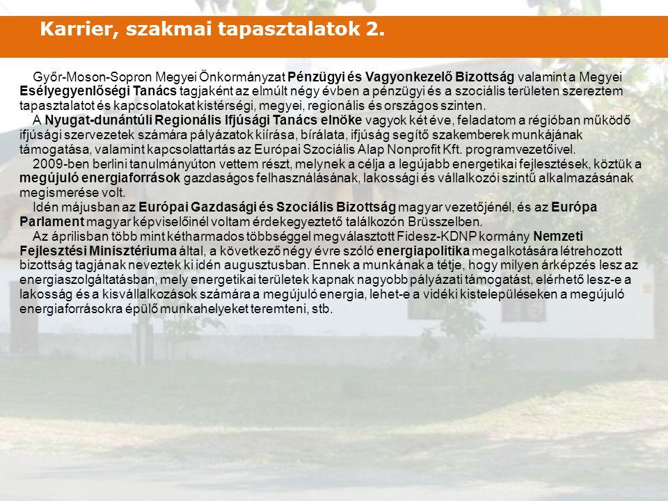Győr-Moson-Sopron Megyei Önkormányzat Pénzügyi és Vagyonkezelő Bizottság valamint a Megyei Esélyegyenlőségi Tanács tagjaként az elmúlt négy évben a pé