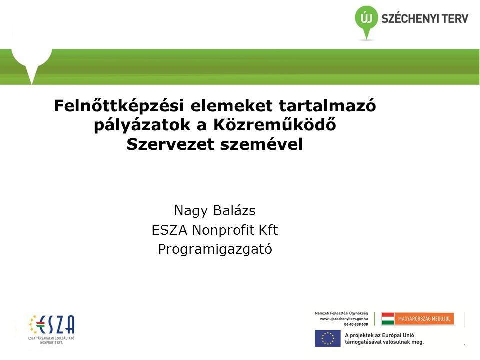 Felnőttképzési elemeket tartalmazó pályázatok a Közreműködő Szervezet szemével Nagy Balázs ESZA Nonprofit Kft Programigazgató