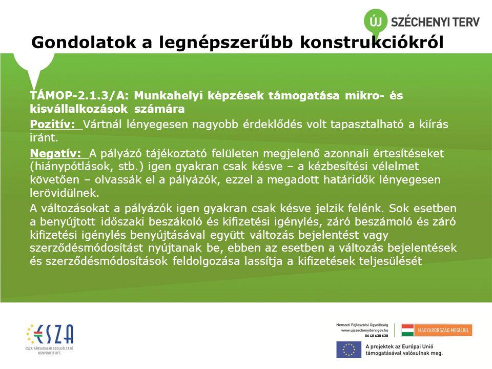 Gondolatok a legnépszerűbb konstrukciókról TÁMOP-2.1.3/A: Munkahelyi képzések támogatása mikro- és kisvállalkozások számára Pozitív: Vártnál lényegese