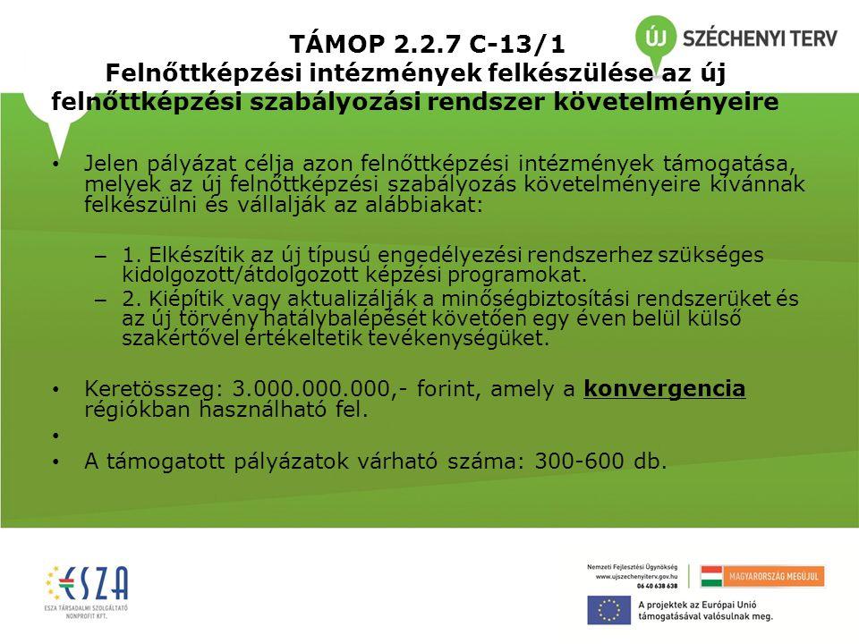 TÁMOP 2.2.7 C-13/1 Felnőttképzési intézmények felkészülése az új felnőttképzési szabályozási rendszer követelményeire • Jelen pályázat célja azon feln