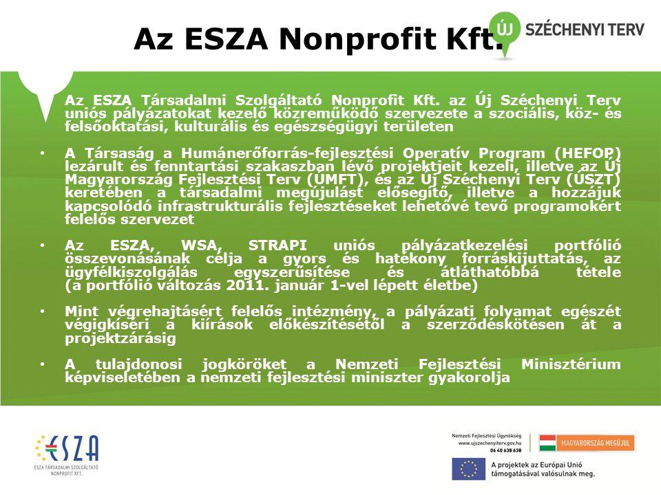 Az ESZA Nonprofit Kft. • Az ESZA Társadalmi Szolgáltató Nonprofit Kft. az Új Széchenyi Terv uniós pályázatokat kezelő közreműködő szervezete a szociál