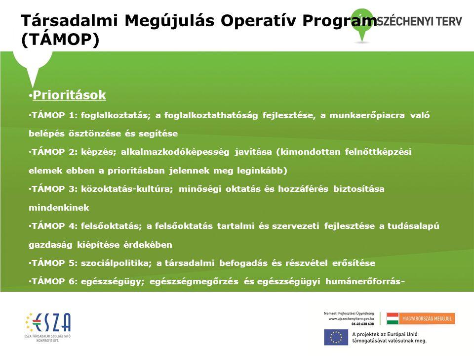 Társadalmi Megújulás Operatív Program (TÁMOP) • Prioritások • TÁMOP 1: foglalkoztatás; a foglalkoztathatóság fejlesztése, a munkaerőpiacra való belépé