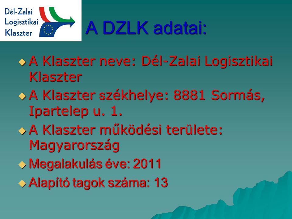 A DZLK adatai:  A Klaszter neve: Dél-Zalai Logisztikai Klaszter  A Klaszter s zékhelye: 8881 Sormás, Ipartelep u.