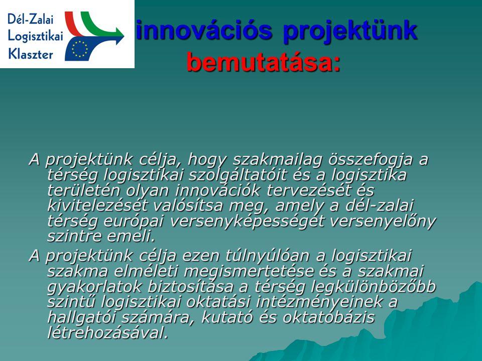 Az innovációs projektünk bemutatása: Az innovációs projektünk bemutatása: A projektünk célja, hogy szakmailag összefogja a térség logisztikai szolgáltatóit és a logisztika területén olyan innovációk tervezését és kivitelezését valósítsa meg, amely a dél-zalai térség európai versenyképességét versenyelőny szintre emeli.