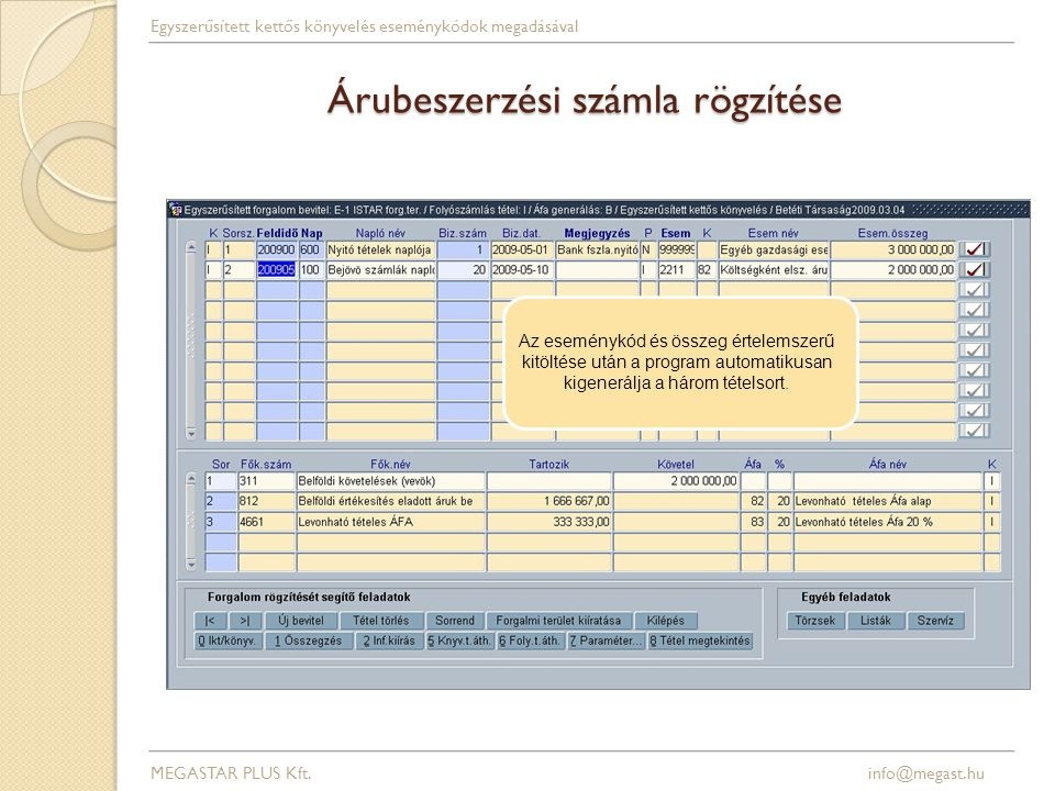 Árubeszerzési számla rögzítése MEGASTAR PLUS Kft. info@megast.hu Egyszerűsített kettős könyvelés eseménykódok megadásával Az eseménykód és összeg érte