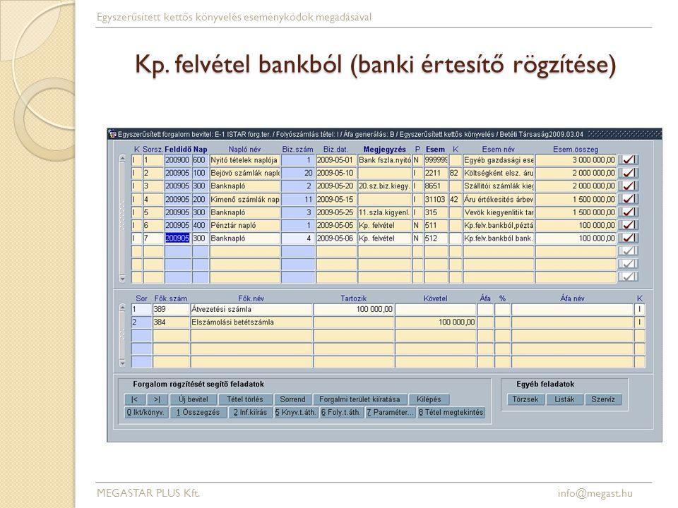 Kp. felvétel bankból (banki értesítő rögzítése) MEGASTAR PLUS Kft. info@megast.hu Egyszerűsített kettős könyvelés eseménykódok megadásával