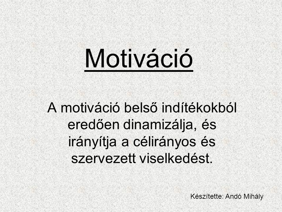 Motiváció A motiváció belső indítékokból eredően dinamizálja, és irányítja a célirányos és szervezett viselkedést. Készítette: Andó Mihály