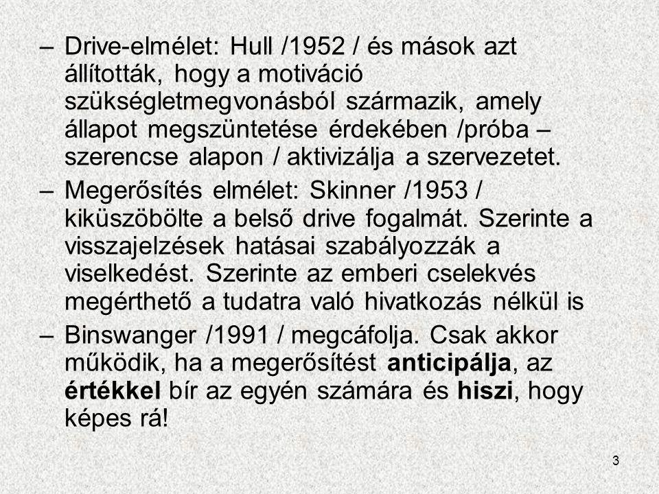 3 –Drive-elmélet: Hull /1952 / és mások azt állították, hogy a motiváció szükségletmegvonásból származik, amely állapot megszüntetése érdekében /próba