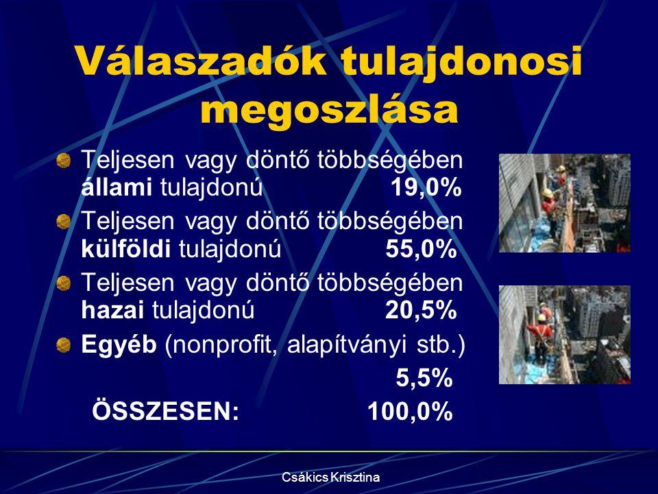 Csákics Krisztina Válaszadók tulajdonosi megoszlása Teljesen vagy döntő többségében állami tulajdonú 19,0% Teljesen vagy döntő többségében külföldi tulajdonú 55,0% Teljesen vagy döntő többségében hazai tulajdonú 20,5% Egyéb (nonprofit, alapítványi stb.) 5,5% ÖSSZESEN: 100,0%