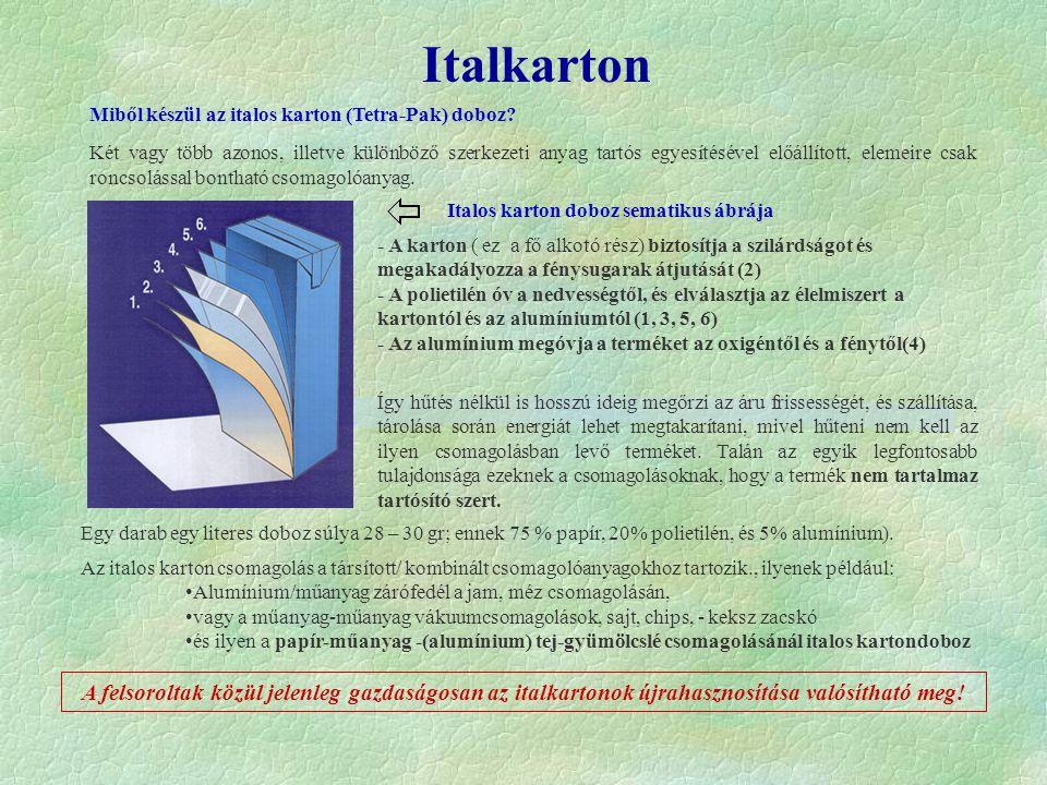 Italkarton Italos karton doboz sematikus ábrája - A karton ( ez a fő alkotó rész) biztosítja a szilárdságot és megakadályozza a fénysugarak átjutását (2) - A polietilén óv a nedvességtől, és elválasztja az élelmiszert a kartontól és az alumíniumtól (1, 3, 5, 6) - Az alumínium megóvja a terméket az oxigéntől és a fénytől(4) Miből készül az italos karton (Tetra-Pak) doboz.