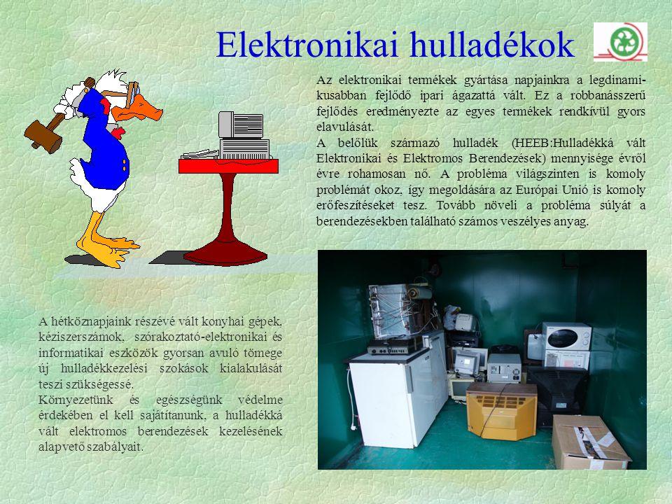 Elektronikai hulladékok Az elektronikai termékek gyártása napjainkra a legdinami- kusabban fejlődő ipari ágazattá vált.