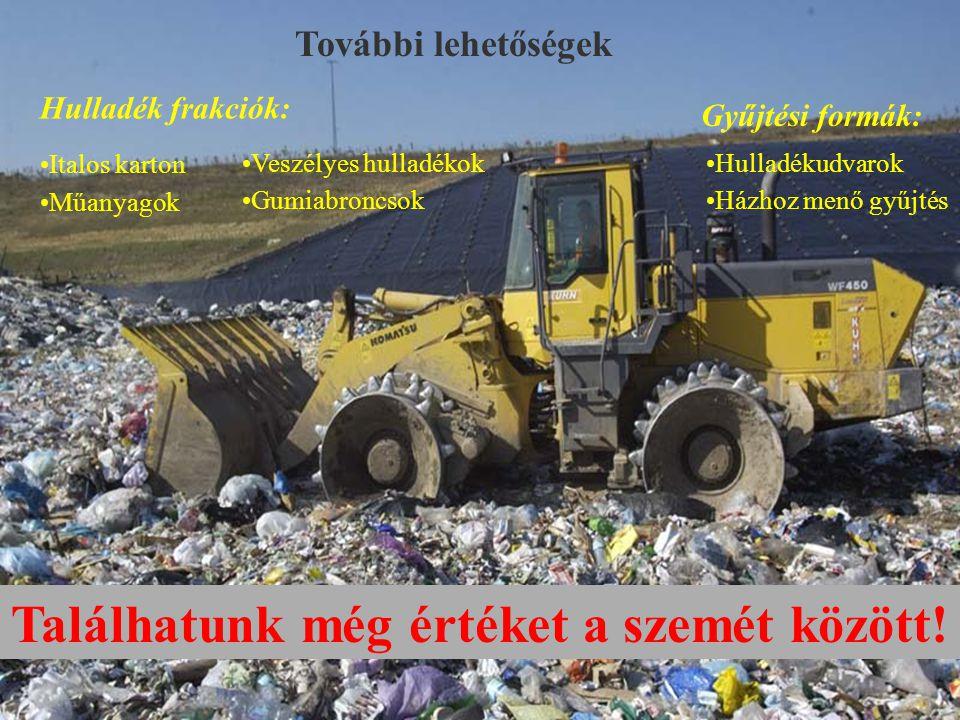 További lehetőségek Gyűjtési formák: Hulladék frakciók: •Veszélyes hulladékok Találhatunk még értéket a szemét között.