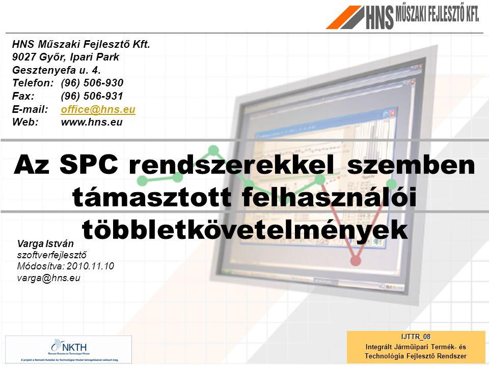 Varga István szoftverfejlesztő Módosítva: 2010.11.10 varga@hns.eu Az SPC rendszerekkel szemben támasztott felhasználói többletkövetelmények HNS Műszaki Fejlesztő Kft.