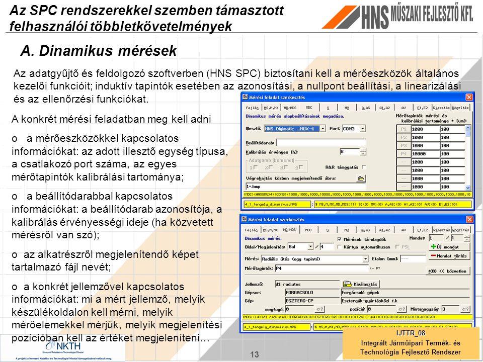 13 Az SPC rendszerekkel szemben támasztott felhasználói többletkövetelmények A. Dinamikus mérések Az adatgyűjtő és feldolgozó szoftverben (HNS SPC) bi