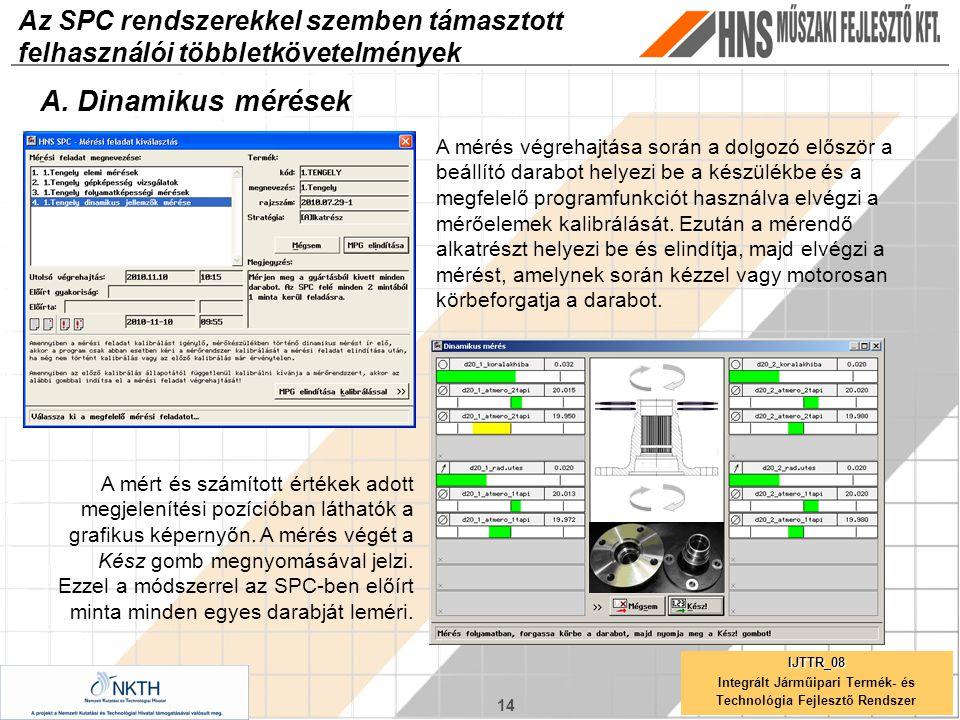 14 IJTTR_08 Integrált Járműipari Termék- és Technológia Fejlesztő Rendszer Az SPC rendszerekkel szemben támasztott felhasználói többletkövetelmények A