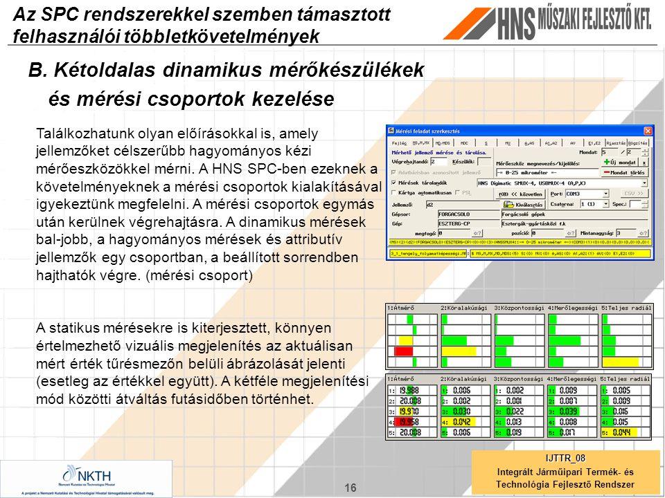 16 IJTTR_08 Integrált Járműipari Termék- és Technológia Fejlesztő Rendszer Az SPC rendszerekkel szemben támasztott felhasználói többletkövetelmények B