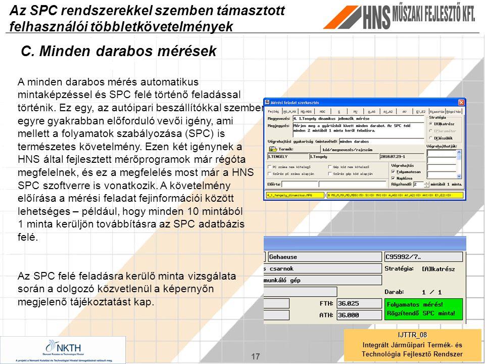17 IJTTR_08 Integrált Járműipari Termék- és Technológia Fejlesztő Rendszer Az SPC rendszerekkel szemben támasztott felhasználói többletkövetelmények C