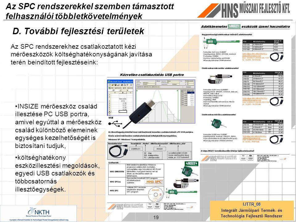 19 IJTTR_08 Integrált Járműipari Termék- és Technológia Fejlesztő Rendszer Az SPC rendszerekkel szemben támasztott felhasználói többletkövetelmények D