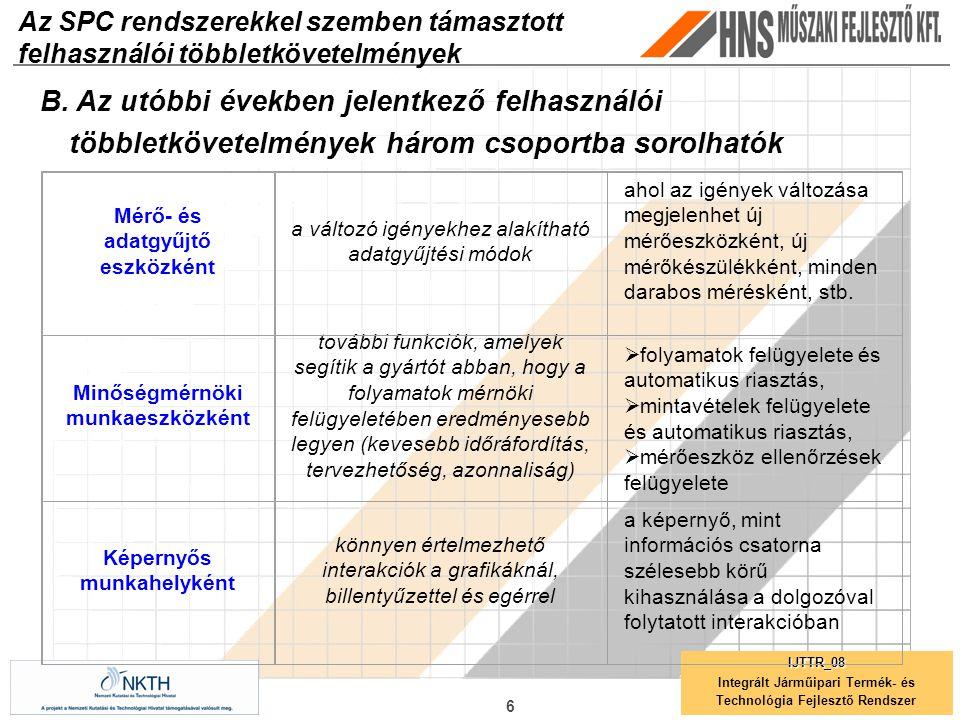 Az SPC rendszerekkel szemben támasztott felhasználói többletkövetelmények 6 IJTTR_08 Integrált Járműipari Termék- és Technológia Fejlesztő Rendszer B.