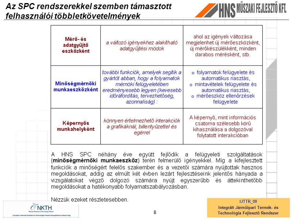 8 Az SPC rendszerekkel szemben támasztott felhasználói többletkövetelmények IJTTR_08 Integrált Járműipari Termék- és Technológia Fejlesztő Rendszer