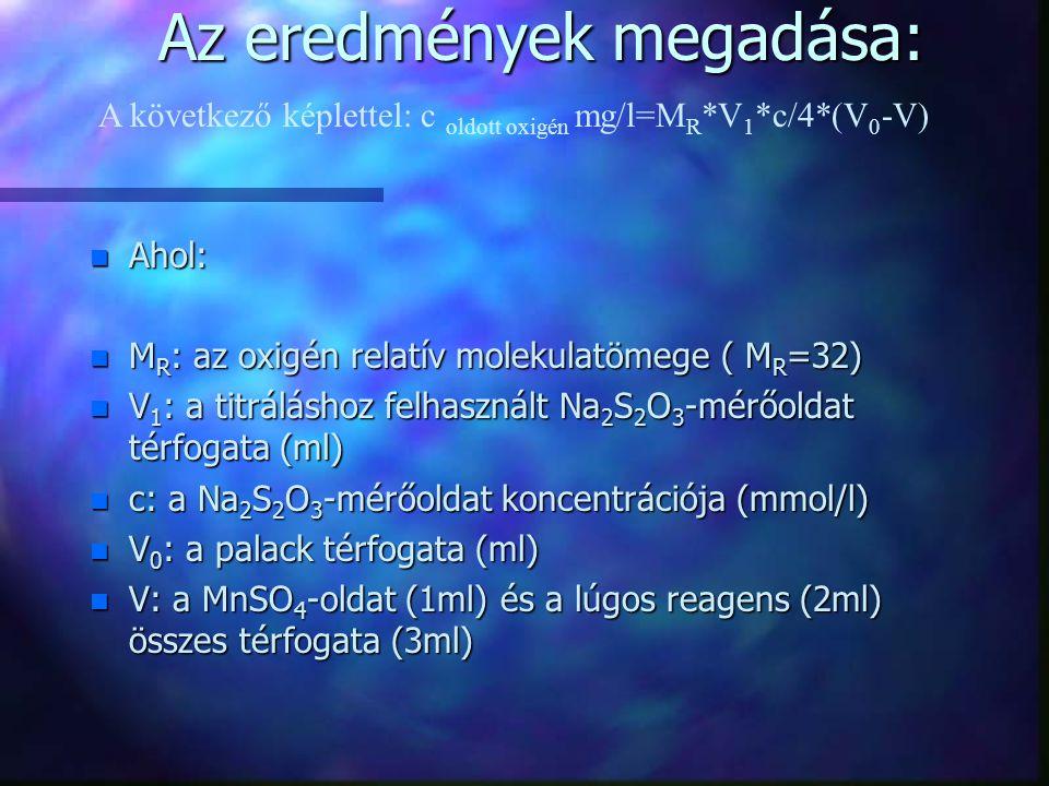 Az eredmények megadása: n Ahol: n M R : az oxigén relatív molekulatömege ( M R =32) n V 1 : a titráláshoz felhasznált Na 2 S 2 O 3 -mérőoldat térfogat