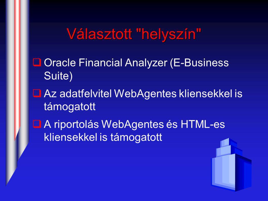 Választott helyszín  Oracle Financial Analyzer (E-Business Suite)  Az adatfelvitel WebAgentes kliensekkel is támogatott  A riportolás WebAgentes és HTML-es kliensekkel is támogatott