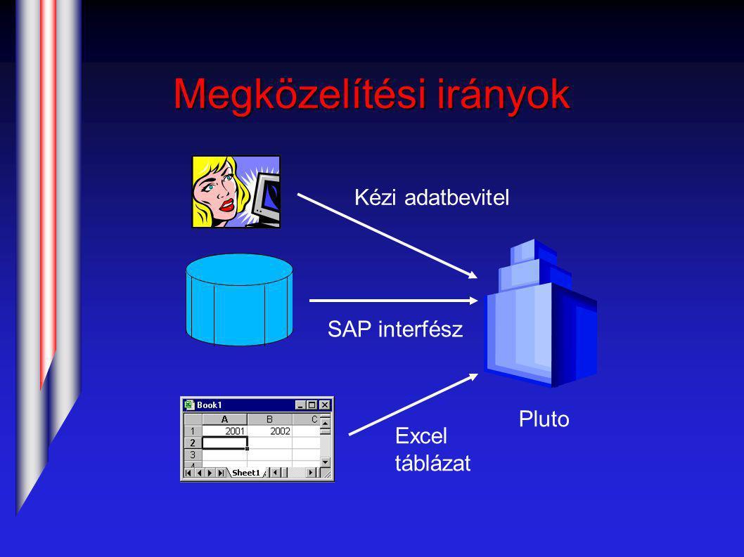 Megközelítési irányok Pluto Kézi adatbevitel SAP interfész Excel táblázat