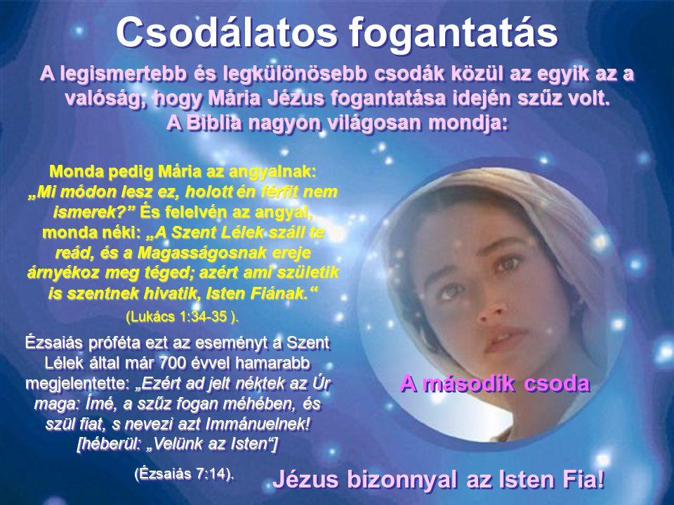 """Csodálatos fogantatás Monda pedig Mária az angyalnak: """"Mi módon lesz ez, holott én férfit nem ismerek? És felelvén az angyal, monda néki: """"A Szent Lélek száll te reád, és a Magasságosnak ereje árnyékoz meg téged; azért ami születik is szentnek hivatik, Isten Fiának."""
