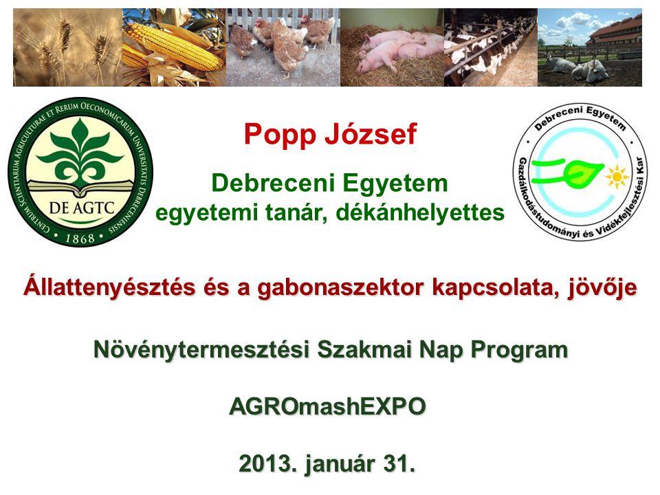 Popp József Debreceni Egyetem egyetemi tanár, dékánhelyettes Állattenyésztés és a gabonaszektor kapcsolata, jövője Növénytermesztési Szakmai Nap Program Növénytermesztési Szakmai Nap Program AGROmashEXPO 2013.