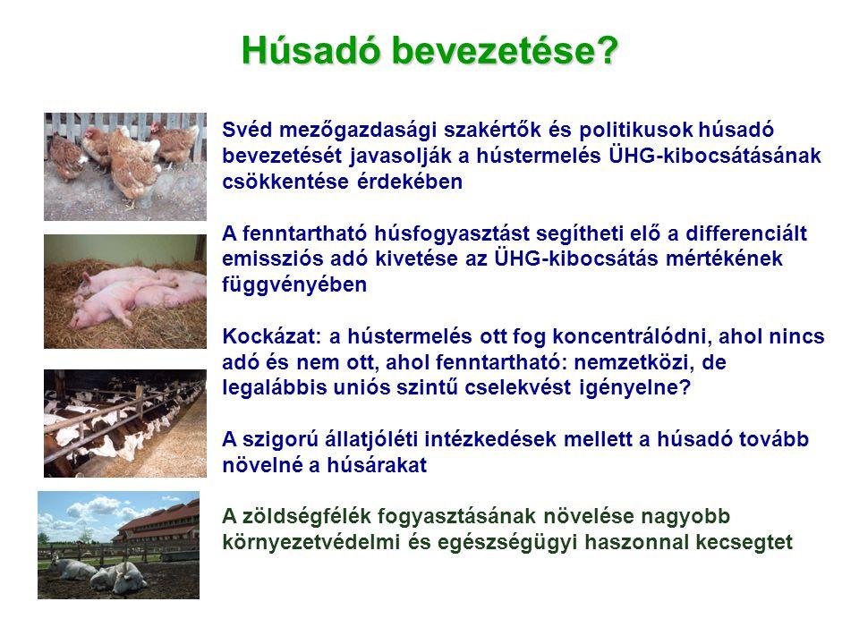 Húsadó bevezetése? Svéd mezőgazdasági szakértők és politikusok húsadó bevezetését javasolják a hústermelés ÜHG-kibocsátásának csökkentése érdekében A