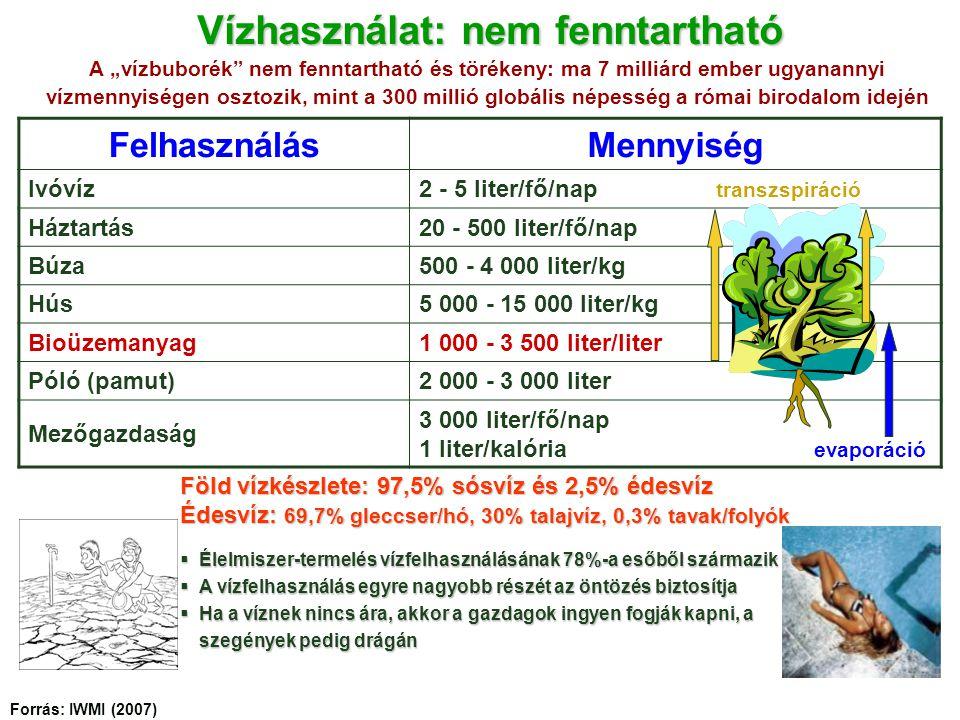 """FelhasználásMennyiség Ivóvíz2 - 5 liter/fő/nap transzspiráció Háztartás20 - 500 liter/fő/nap Búza500 - 4 000 liter/kg Hús5 000 - 15 000 liter/kg Bioüzemanyag1 000 - 3 500 liter/liter Póló (pamut)2 000 - 3 000 liter Mezőgazdaság 3 000 liter/fő/nap 1 liter/kalória evaporáció  Élelmiszer-termelés vízfelhasználásának 78%-a esőből származik  A vízfelhasználás egyre nagyobb részét az öntözés biztosítja  Ha a víznek nincs ára, akkor a gazdagok ingyen fogják kapni, a szegények pedig drágán Vízhasználat: nem fenntartható A """"vízbuborék nem fenntartható és törékeny: ma 7 milliárd ember ugyanannyi vízmennyiségen osztozik, mint a 300 millió globális népesség a római birodalom idején Forrás: IWMI (2007) Föld vízkészlete: 97,5% sósvíz és 2,5% édesvíz Édesvíz: 69,7% gleccser/hó, 30% talajvíz, 0,3% tavak/folyók"""
