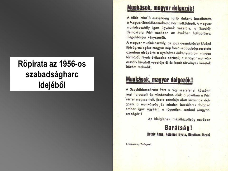 Röpirata az 1956-os szabadságharc idejéből