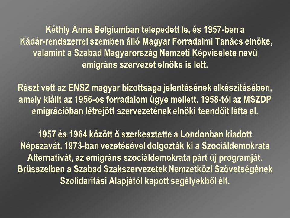 Kéthly Anna Belgiumban telepedett le, és 1957-ben a Kádár-rendszerrel szemben álló Magyar Forradalmi Tanács elnöke, valamint a Szabad Magyarország Nem