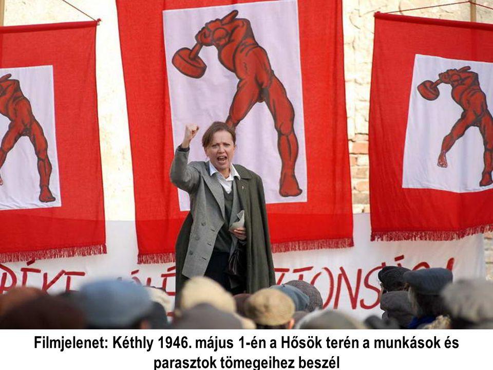 Filmjelenet: Kéthly 1946. május 1-én a Hősök terén a munkások és parasztok tömegeihez beszél