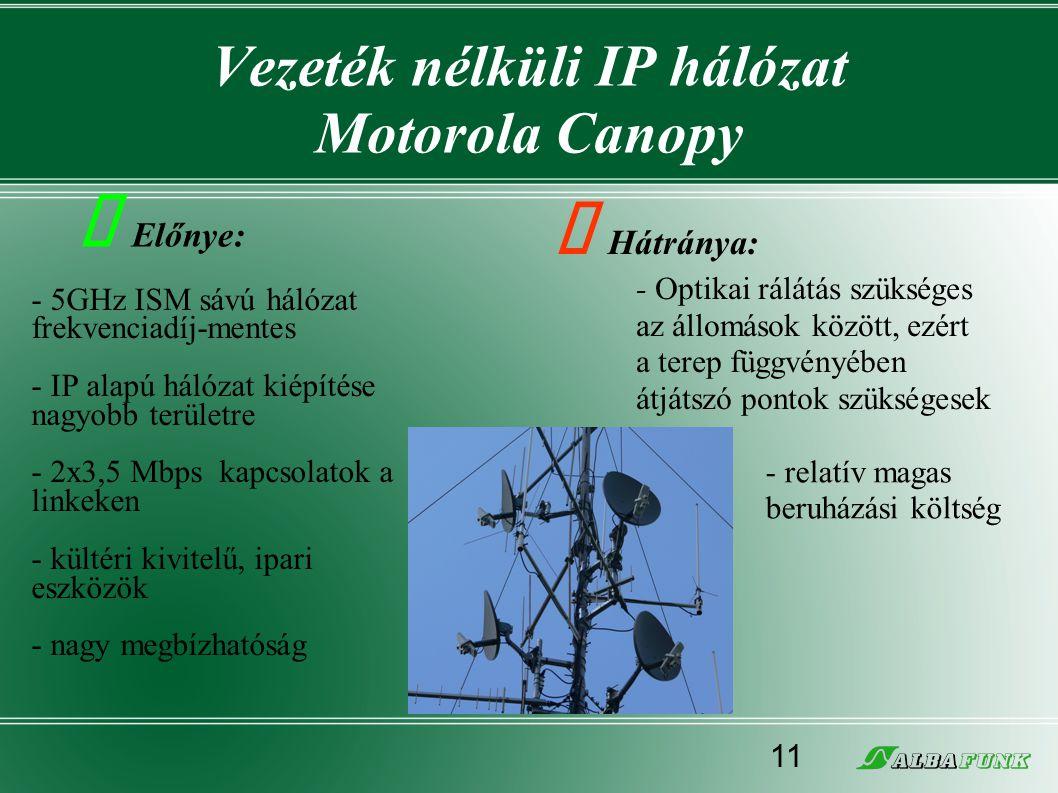 Vezeték nélküli IP hálózat Motorola Canopy - 5GHz ISM sávú hálózat frekvenciadíj-mentes - IP alapú hálózat kiépítése nagyobb területre - 2x3,5 Mbps ka