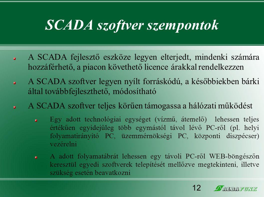 SCADA szoftver szempontok A SCADA fejlesztő eszköze legyen elterjedt, mindenki számára hozzáférhető, a piacon követhető licence árakkal rendelkezzen A