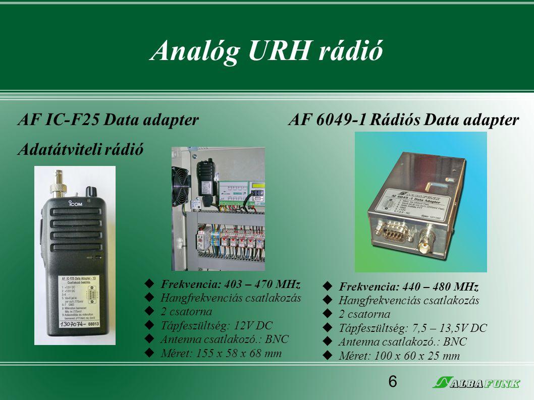 Analóg URH rádió AF IC-F25 Data adapter Adatátviteli rádió AF 6049-1 Rádiós Data adapter  Frekvencia: 440 – 480 MHz  Hangfrekvenciás csatlakozás  2