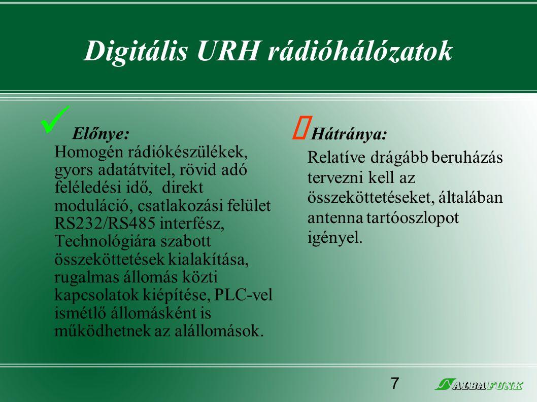 Digitális URH rádióhálózatok  Előnye: Homogén rádiókészülékek, gyors adatátvitel, rövid adó feléledési idő, direkt moduláció, csatlakozási felület RS
