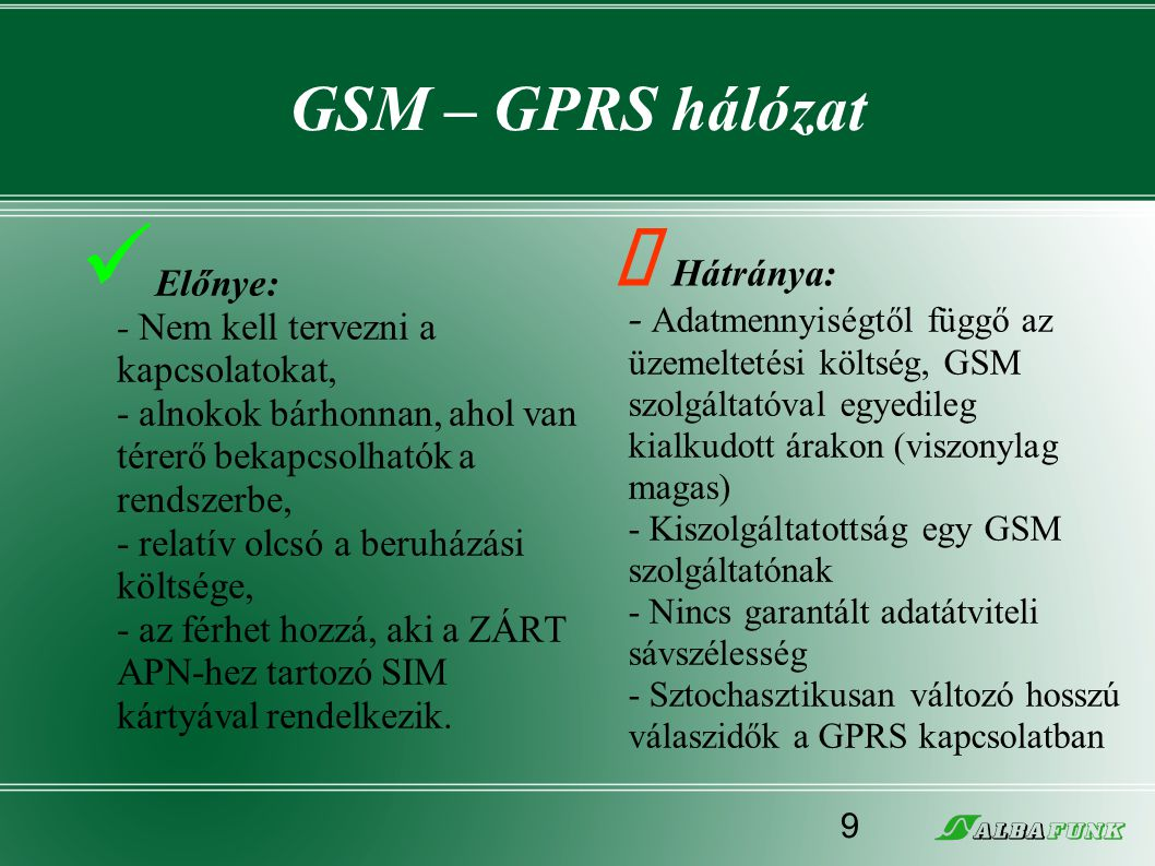 GSM – GPRS hálózat  Előnye: - Nem kell tervezni a kapcsolatokat, - alnokok bárhonnan, ahol van térerő bekapcsolhatók a rendszerbe, - relatív olcsó a